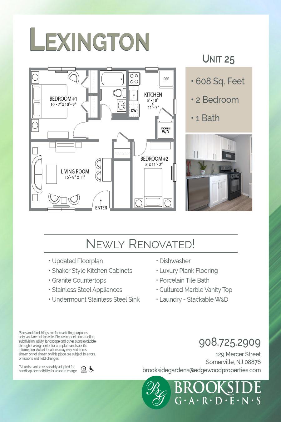 Brookside Gardens Apartment Floor Plan Lexington Unit 25