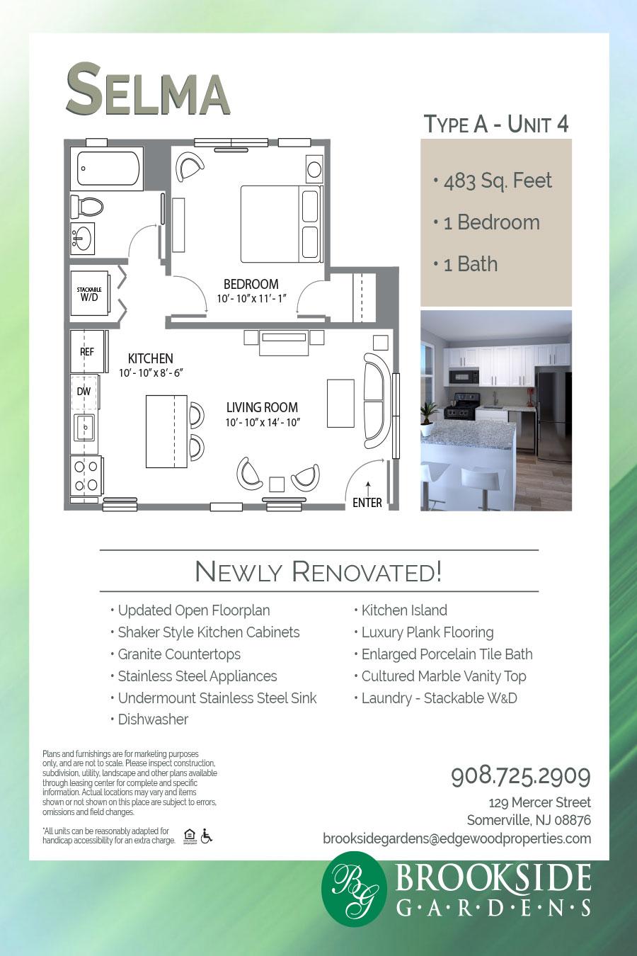 Brookside Gardens Apartment Floor Plan Selma Type A - Unit 4