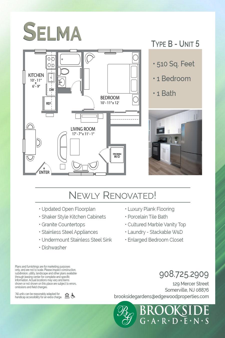 Brookside Gardens Apartment Floor Plan Selma Type B - Unit 5